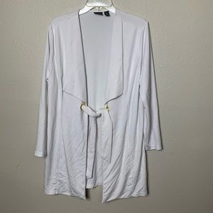 Chico's white cardigan with belt and gold rings